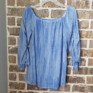 H by Halston Blue Striped Top